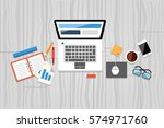 office desk with smartphone and ... | Shutterstock .eps vector #574971760