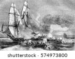 slave ship fleeing cruisers and ... | Shutterstock . vector #574973800
