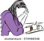 pretty woman writing vector...   Shutterstock .eps vector #574988548