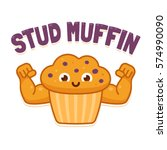 stud muffin  funny illustration.... | Shutterstock .eps vector #574990090