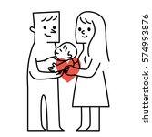 parents and baby.vector... | Shutterstock .eps vector #574993876