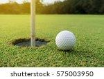 golf ball put position on green ... | Shutterstock . vector #575003950
