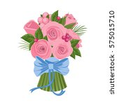 pink roses bouquet with blue bow | Shutterstock .eps vector #575015710