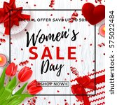 banner for women's day sale.... | Shutterstock .eps vector #575022484