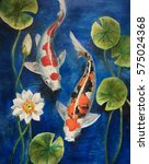 Colorful Koi Fish In A Pond....