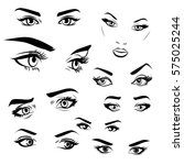 female woman eyes and brows... | Shutterstock .eps vector #575025244