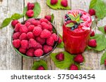 berry smoothie from raspberry... | Shutterstock . vector #575043454