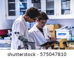 young scientists working... | Shutterstock . vector #575047810