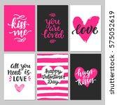 happy valentines day typography ... | Shutterstock . vector #575052619