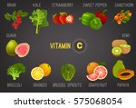high vitamin c foods. healthy... | Shutterstock .eps vector #575068054