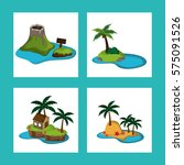 collection paradisiac island... | Shutterstock .eps vector #575091526