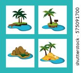 collection paradisiac island... | Shutterstock .eps vector #575091700