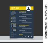 resume and cv vector template.... | Shutterstock .eps vector #575092684