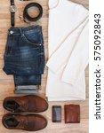 flat lay set of casual men s... | Shutterstock . vector #575092843