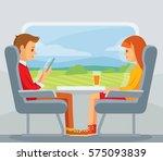 train passengers travel | Shutterstock .eps vector #575093839