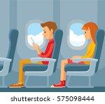 airplane passengers | Shutterstock .eps vector #575098444