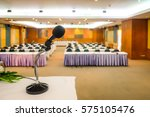 close up of microphone in... | Shutterstock . vector #575105476