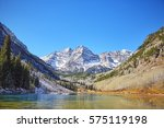 maroon bells mountain lake ... | Shutterstock . vector #575119198