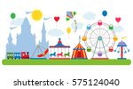 amusement park in flat vector... | Shutterstock .eps vector #575124040
