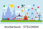amusement park in flat vector... | Shutterstock .eps vector #575124064