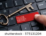 closed up finger on keyboard... | Shutterstock . vector #575131204