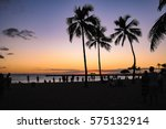 people watching the sunset... | Shutterstock . vector #575132914