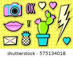 stickers set 90s. cartoon patch ... | Shutterstock .eps vector #575134018