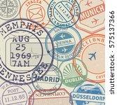 travel stamps or adventure... | Shutterstock .eps vector #575137366