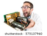 Small photo of Nerd engineer posing with computer components isolated in a white background