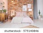 cozy bedroom with double bed ... | Shutterstock . vector #575140846