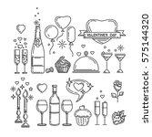 line icons set for valentine's... | Shutterstock .eps vector #575144320