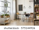 well lighted room corner with... | Shutterstock . vector #575144926