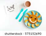 concept kid breakfast with... | Shutterstock . vector #575152690