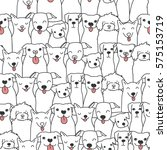 Stock vector seamless pattern with funny hand drawn dogs animals vector illustration with adorable pets 575153719