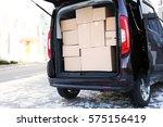 office moving concept. cartoon...   Shutterstock . vector #575156419