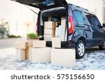 house moving concept. cartoon... | Shutterstock . vector #575156650