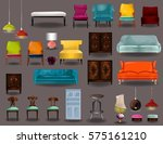 big set furniture 3d vector... | Shutterstock .eps vector #575161210