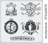 set of vintage golf labels ... | Shutterstock .eps vector #575163070