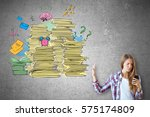 Stock photo woman on concrete background using smartphone and saying no to abstract drawing of paperwork stacks 575174809