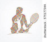 double exposure  tennis player... | Shutterstock .eps vector #575177344
