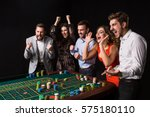 group of young people behind... | Shutterstock . vector #575180110