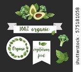 100  organic. stickers of... | Shutterstock .eps vector #575181058