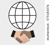globe and shaking hands on a... | Shutterstock .eps vector #575181076