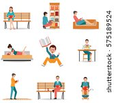 reading people flat character... | Shutterstock .eps vector #575189524
