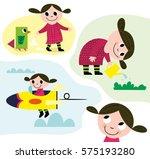 little girl dreaming while... | Shutterstock .eps vector #575193280