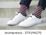 Stripy Socks And White Sneaker...