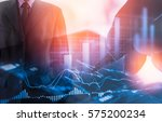 double exposure businessman and ... | Shutterstock . vector #575200234