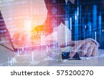 double exposure businessman and ... | Shutterstock . vector #575200270