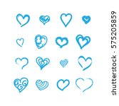 heart icons set vector ink... | Shutterstock .eps vector #575205859