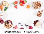 healthy breakfast with muesli ... | Shutterstock . vector #575210398